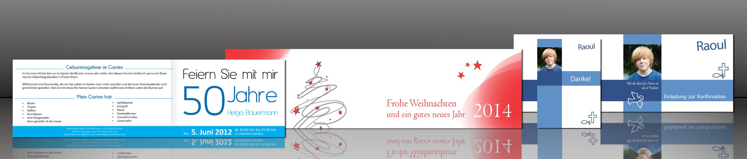 Erstellen von Einladungskarten oder Weihnachtskarten